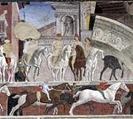 Palazzo schifanoia, salone dei mesi, 04 aprile (f. del cossa), Borso assiste al Palio di San Giorgio e dà moneta al buffone Scoccola 07 1.jpg