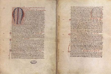 The Papal bull issued by Pope Innocent IV establishing Lithuania's placement under the jurisdiction of the Bishop of Rome, and discussing Mindaugas's baptism and coronation Papal bull regarding Lithuanian ruler Mindaugas 1251.jpg