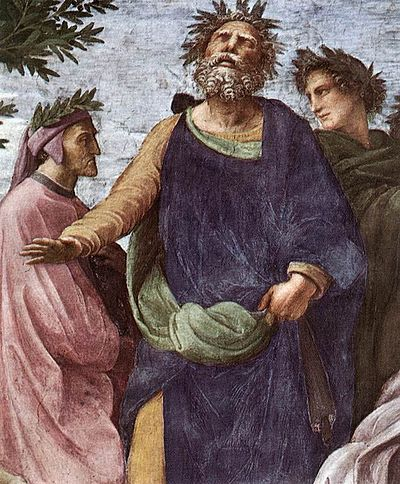 Dante, Homer and Virgil in Raphael's Parnassus fresco (1511), key figures in the Western canon Parnaso 09.jpg