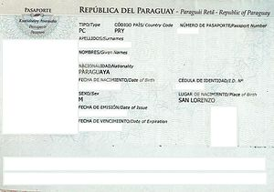 Paraguayan passport - The data page of a contemporary Paraguayan consular passport issued in Rome