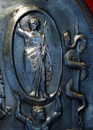 Aion (deity) - Detail from the Parabiago plate depicting Aion; Tellus (not shown) appears at the bottom of the plate, which centers on the chariot of Cybele