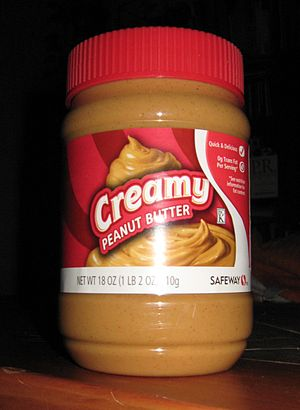 "Peanut butter - A jar of commercial ""creamy"" peanut butter."