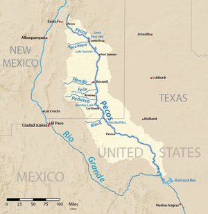 Pecos River Wikipedia - Texas rivers and lakes map