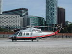 Peel Holdings helicopter (G-PACO) lands at Princes Dock, Liverpool (5).JPG