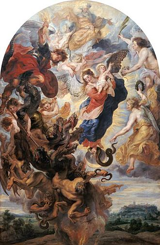Woman of the Apocalypse - A baroque Mondsichelmadonna (Madonna on the Crescent Moon)  painting by Rubens, main altarpiece of the high altar at Freising Cathedral (c. 1625). The Virgin is  depicted as wearing a red dress and blue mantle while crushing a serpent under her foot.