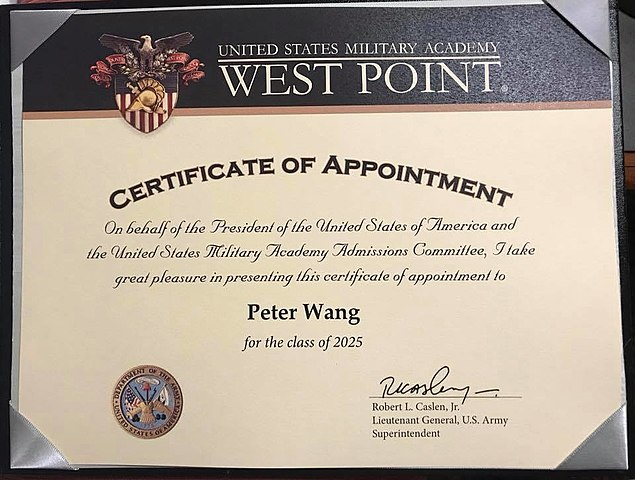 appointment certificate army westpoint jrotc academy military wang peter shooting usma veterans helps connect outdoors florida wikimedia heroism honoring slain