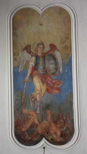 Micheldorf - Parish church of Micheldorf, Carinthia Celling painting - Archangel Michael