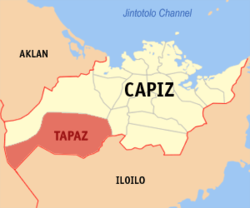 Map of Capiz with Tapaz highlighted