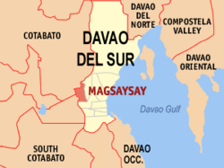 Map of Davao del Sur with Magsaysay highlighted
