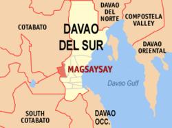 Mapa ng Davao del Sur na nagpapakita sa lokasyon ng Magsaysay.