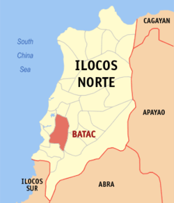 Map of Ilocos Norte showing the location of Batac