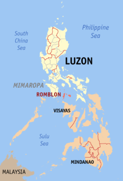 Map of the Philippines with Romblon highlighted