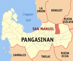 Map of Pangasinan showing the location of San Manuel