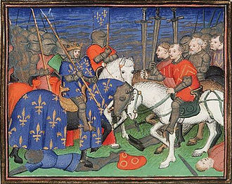 Battle of Bouvines - King Philip II of France's victory at Bouvines, 1410 illustration by Vincent of Beauvais
