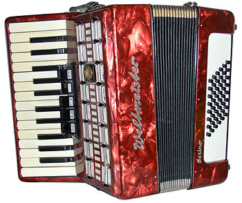 English: Piano accordion; Weltmeister, 48 bass...