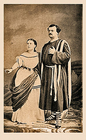 Marietta Piccolomini - Marietta Piccolomini, with tenor Pasquale Brignoli during her American tour (1858–1859) Daguerreotype by Jeremiah Gurney