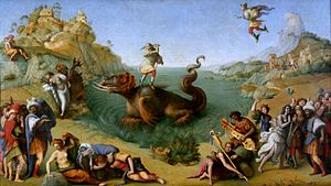Perseus and Andromeda (Titian) - Treatment of the subject by Piero di Cosimo, c. 1510, one of very few earlier easel paintings of it. Uffizi