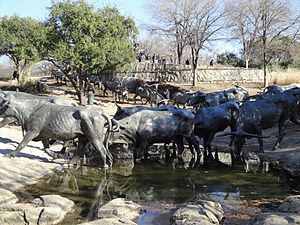 Robert Summers (artist) - Bronze figures of cattle and cowboys, Pioneer Plaza, Dallas, TX