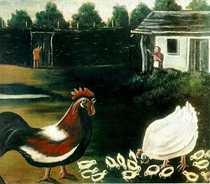 Rooster and Hen with Chickens