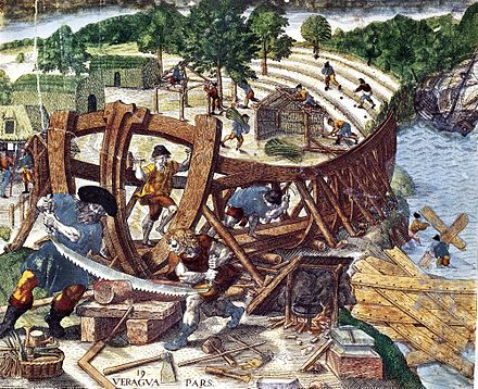 Francisco de Orellana and his men became the first to travel the entire length of the Amazon River in 1541-1542 Pizarroshipbuilding.jpg