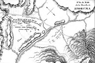 Battle of Ayohuma - Old map of the battle