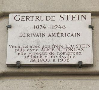 Gertrude Stein - Plaque at 27 rue de Fleurus
