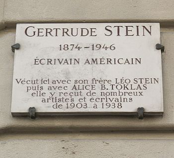Plaque at No 27 Rue de Fleurus, Paris 6th, whe...