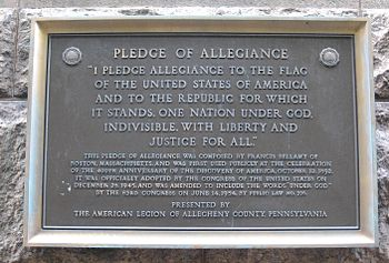 English: Pledge of Allegiance marker on the Al...