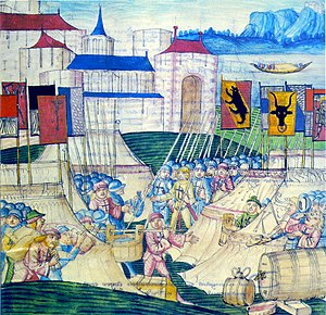 Historiography of Switzerland - The Swiss loot the camp of Charles the Bold after the Battle of Grandson of 2 March 1476 (Berner Schilling, 1480s).