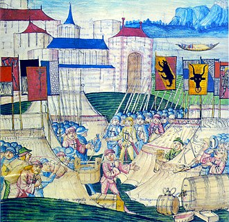 Battle of Grandson - Pillage of the Burgundian camp after the Battle of Grandson, illustration by Diebold Schilling the Elder, 1483