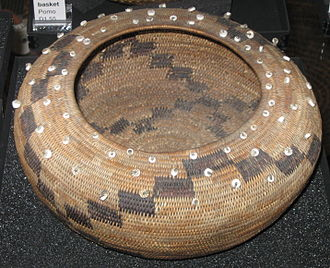 Pomo - Pomo  basket, museum display at Museum of Anthropology at UBC