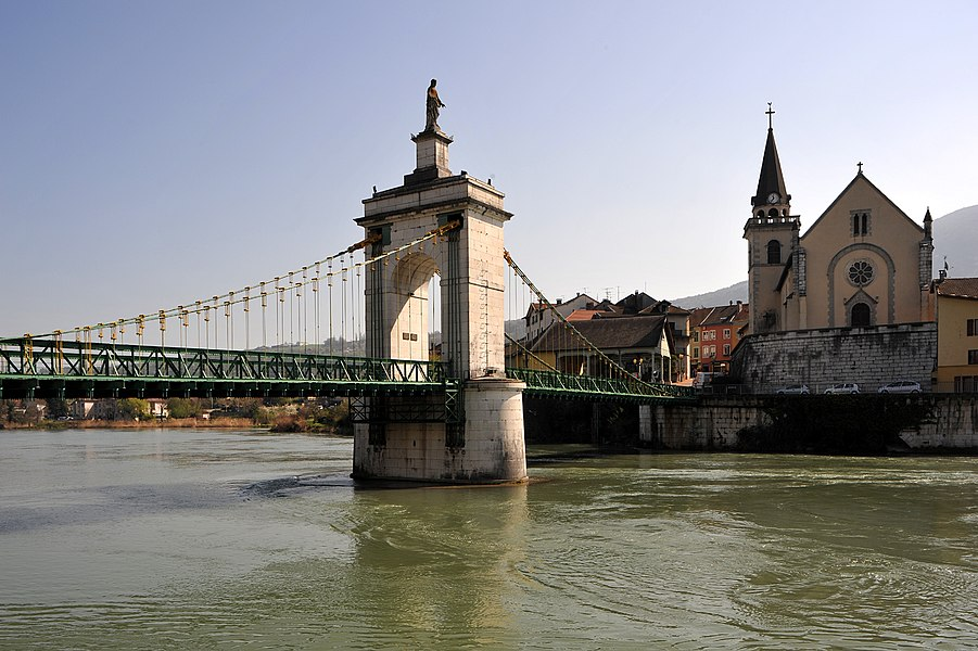 Vierge noire bridge in Seyssel; Haute-Savoie, France.