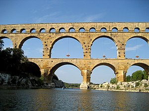 Pont du Gard, France, seen from river Gard