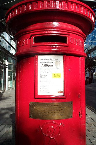 Post box - The surviving Manchester pillar box from the 1996 bomb