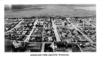 Gillette, Wyoming - Postcard with an aerial view of Gillette around 1930