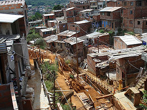 Poverty in Colombia - Informal brick housing.