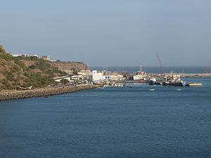 Achada Grande Tras - The Port of Praia during expansion in August 2012, viewed at the former cannon armory at the Plateau of Praia