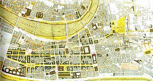 """Rue de la République - """"Plan des améliorations réalisées ou projetées dans le centre de la ville de Lyon"""", by Gustave Bonnet, 1863."""