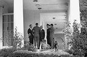 President Kennedy with advisors after EXCOMM meeting on 29 October 1962 after the Cuban Missile Crisis officially ended.