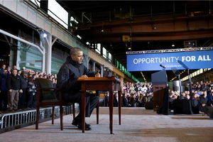 MyRA - President Obama signing MyRA at the Irvin Plant of U.S. Steel near Pittsburgh.