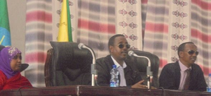 Somali Region - The President and the Vice-president giving a speech at a ceremony.