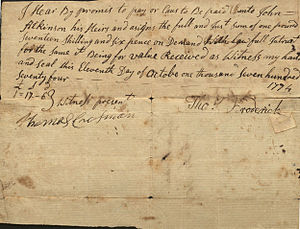 Israel Shreve - Image: Promissory Note 1774