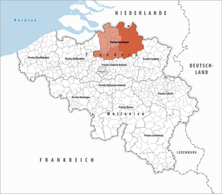 Highlighted location of the province of Antwerp within Belgium