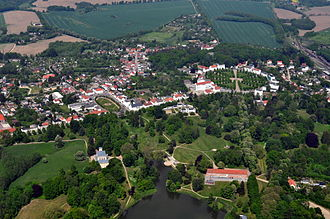 Putbus - Putbus aerial view - the town is a prominent example of a town that is built almost entirely in Neoclassical architecture
