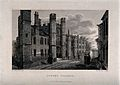 Queen's College, Oxford; entranceway. Line engraving by E.F. Wellcome V0014159.jpg