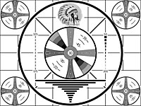 Old television test pattern, created by RCA in 1939 and widely used until color television gained in popularity.