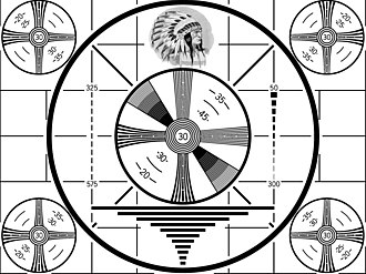Indian-head test pattern used during the black & white era before 1970. It was displayed when a TV station first signed on every day. RCA Indian Head test pattern.JPG
