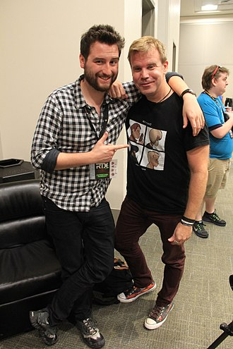 Gray Haddock - Miles Luna, a writer and voice actor for RWBY and other Rooster Teeth projects, with Haddock at RTX 2015