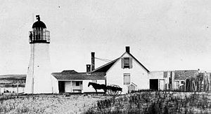 "Race Point Light - The original ""rubble stone"" tower and keepers's house"