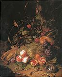 Rachel Ruysch - still life with fruit a nest and a lizard - 1710.jpg
